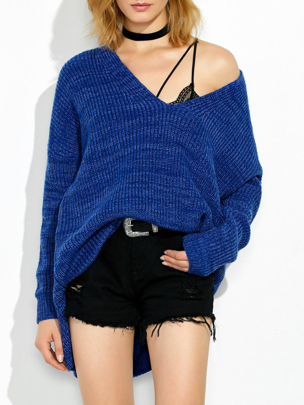 High Low V Neck Oversized Sweater - ROYAL M