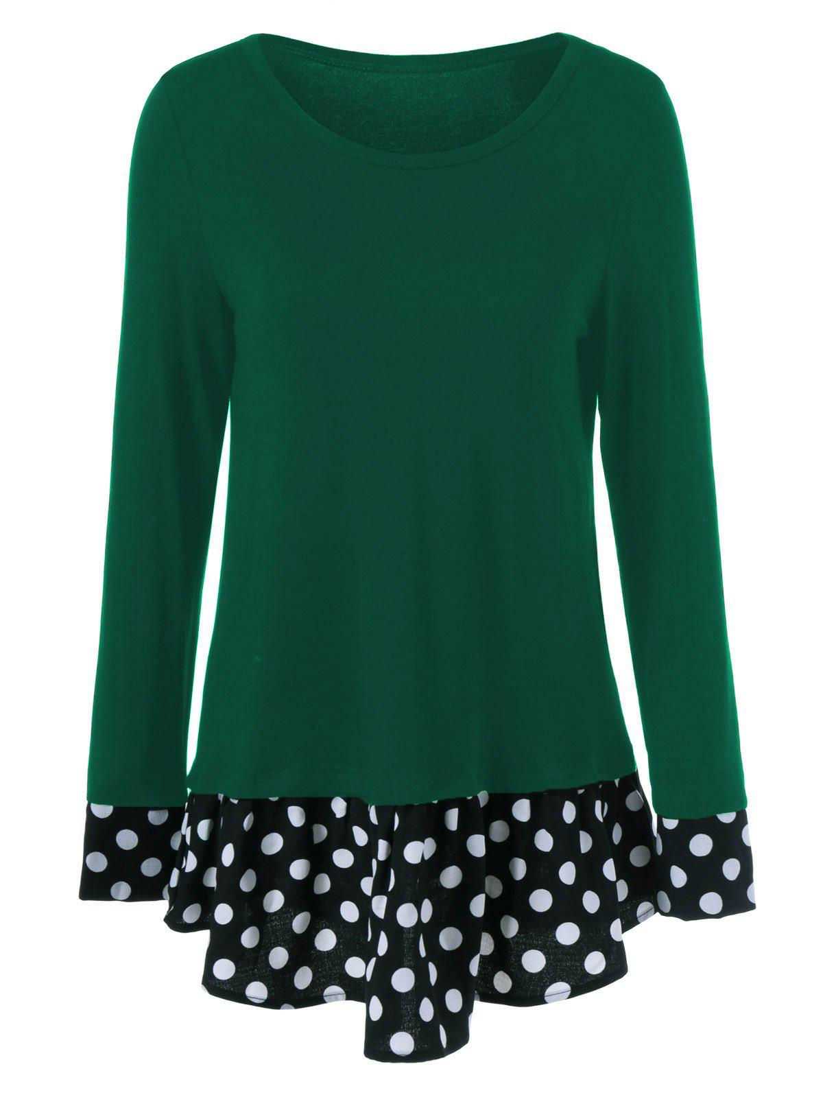 Plus Size Polka Dot Trim Flounced T-Shirt - GREEN 2XL