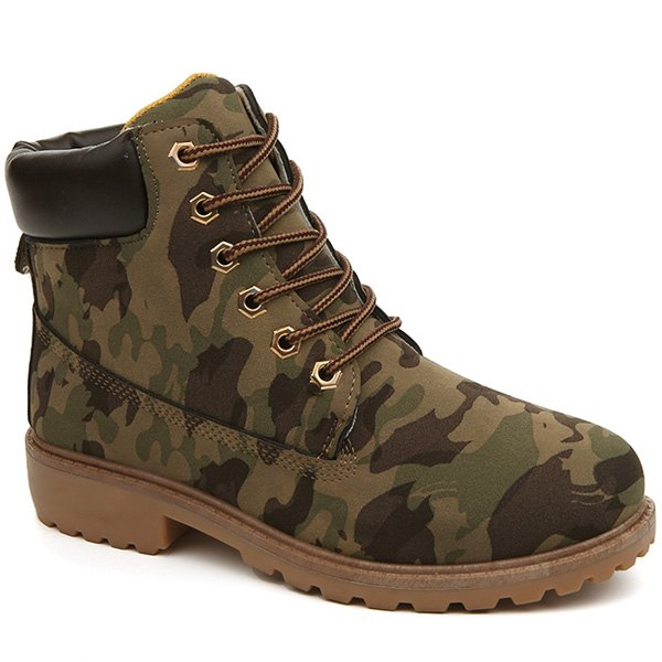 Camouflage Printed Eyelets Lace Up Boots - CAMOUFLAGE COLOR 43