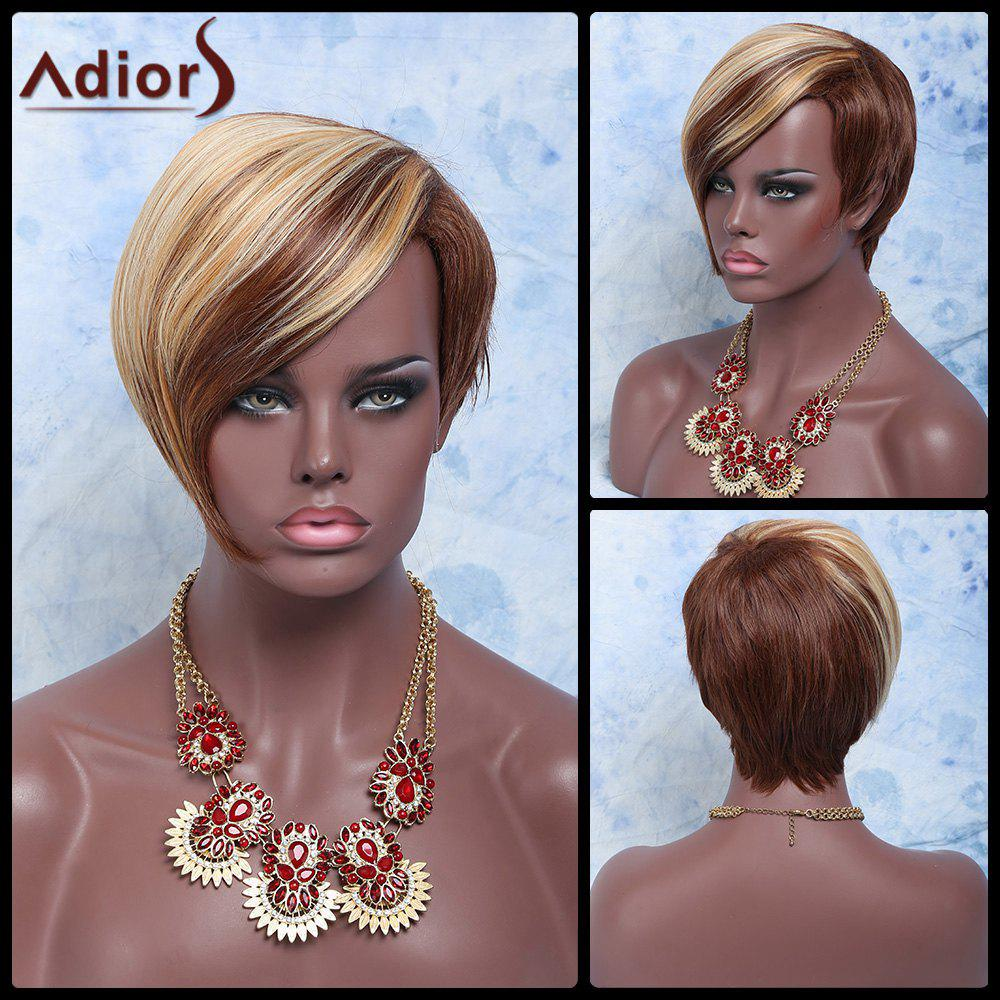 Adiors Hair Synthetic Double Color Short Oblique Bang Straight Wig - BROWN/GOLDEN