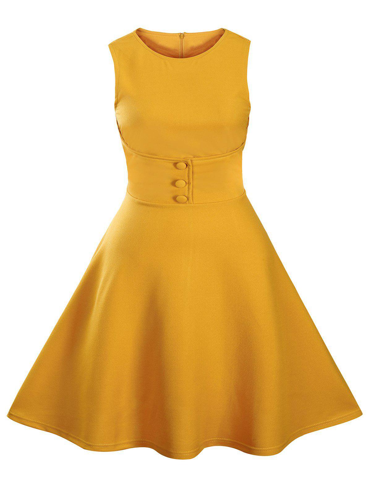 Buttoned Sleeveless Knee Length Vintage Dress - YELLOW S