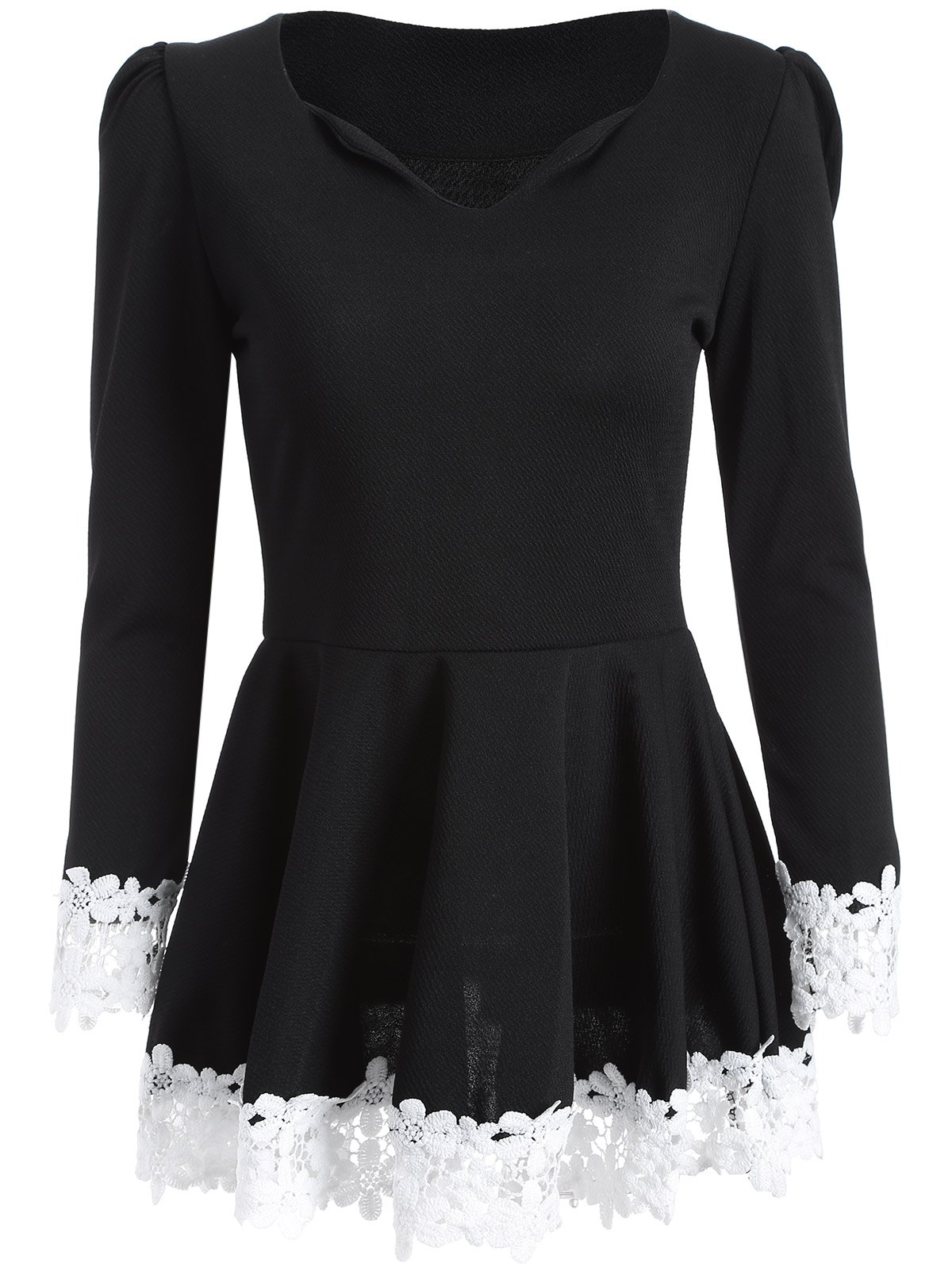 Lace Insert Skirted Top - BLACK ONE SIZE