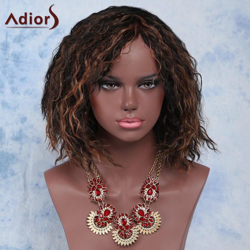 Short Afro Curly Side Bang Mixed Color Adior Synthetic WigHair<br><br><br>Color: COLORMIX