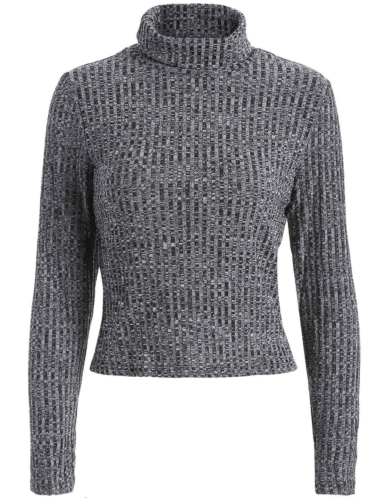 Turtleneck Cropped Heathered SweaterWomen<br><br><br>Size: XL<br>Color: GRAY