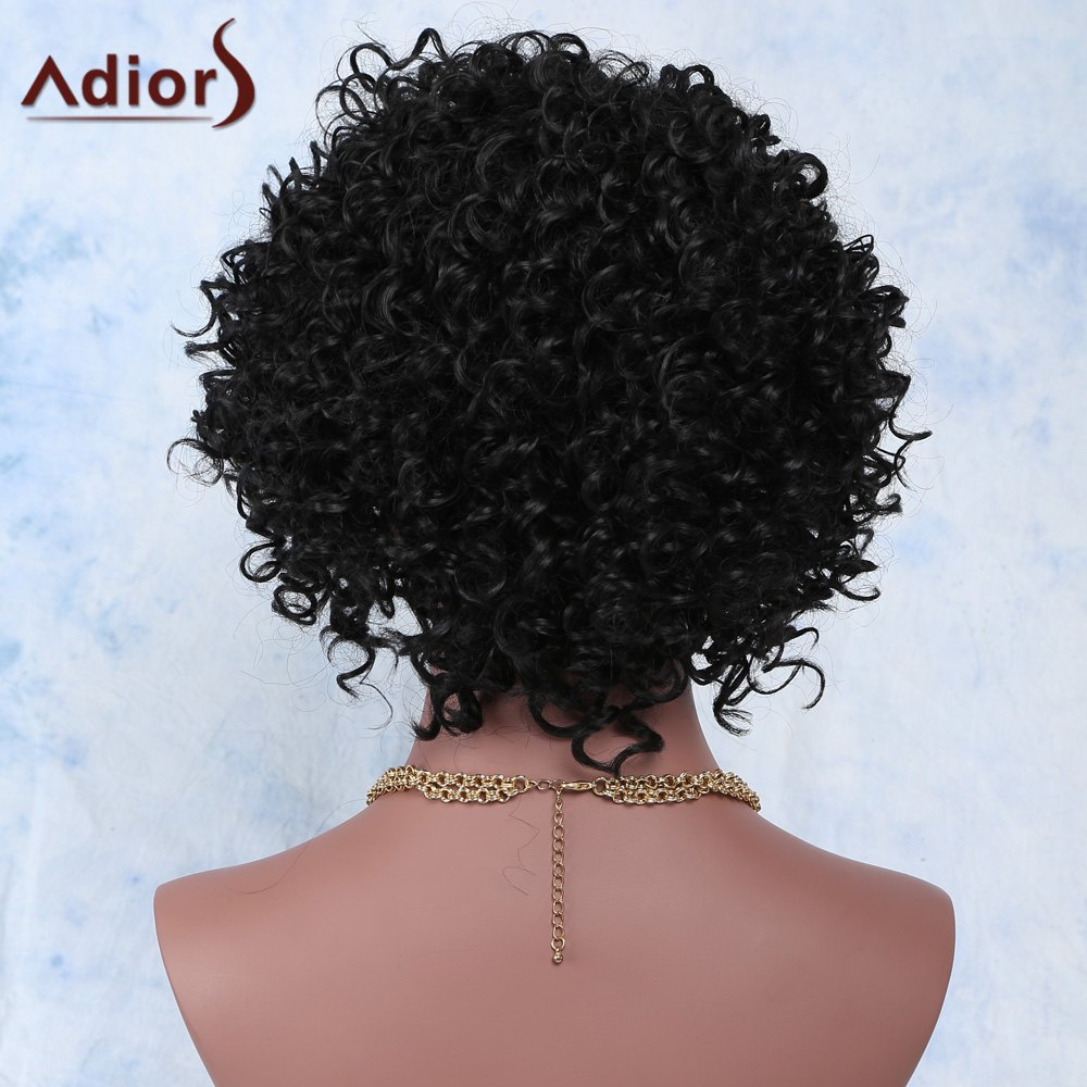 Faddish Side Parting Black Short Fluffy Curly Synthetic Wig For Women - BLACK