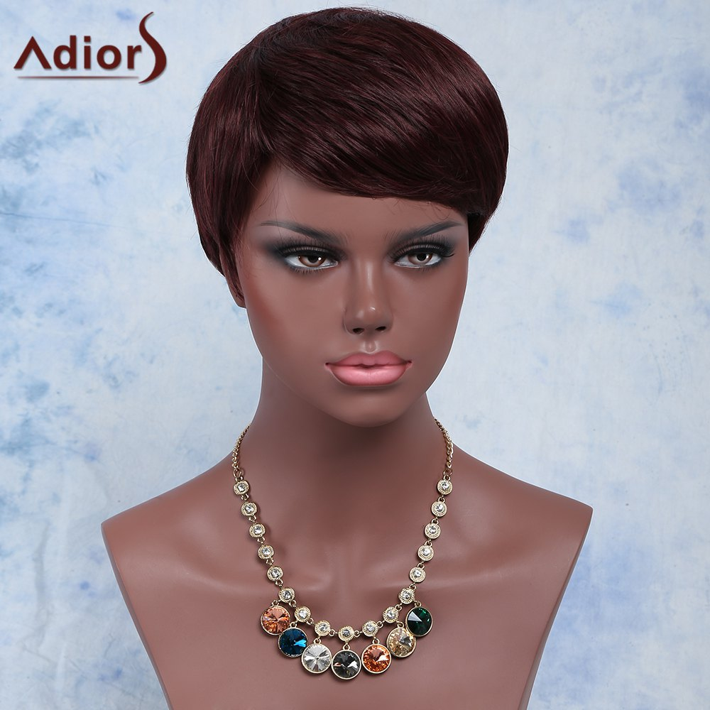 Palm Red Fashion Women's Short Pixie Cut Straight Side Bang Synthetic Wig - RED BROWN