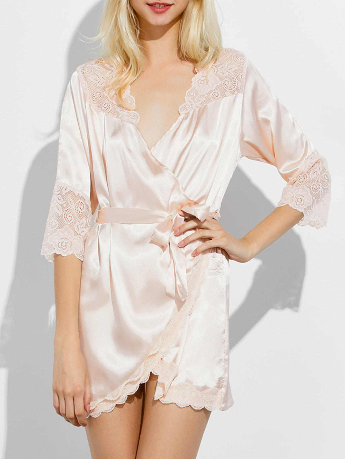 Scalloped Lace Insert Wrap Sleep Robe - CHAMPAGNE M