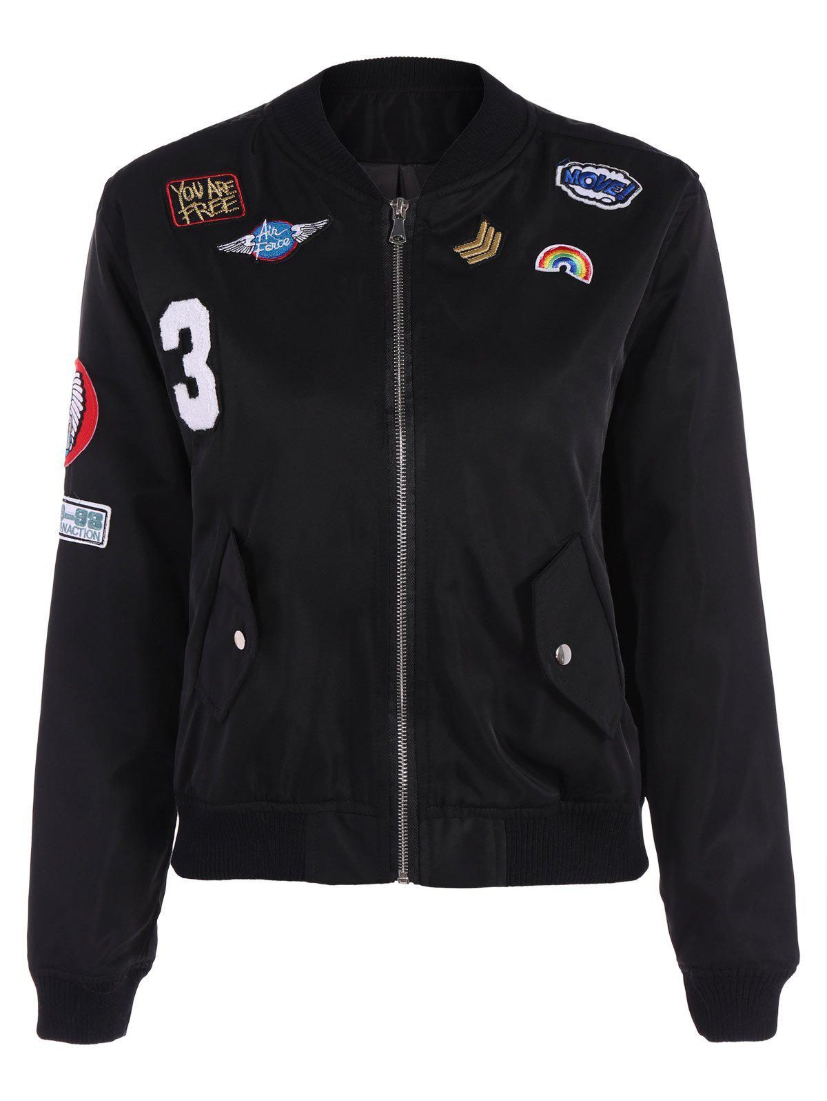 Appliques Bomber Jacket With Pockets wave bomber