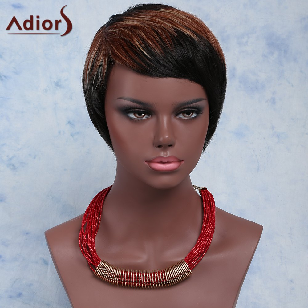 Mixed Color Fashion Women's Short Straight Side Bang Synthetic Wig - COLORMIX