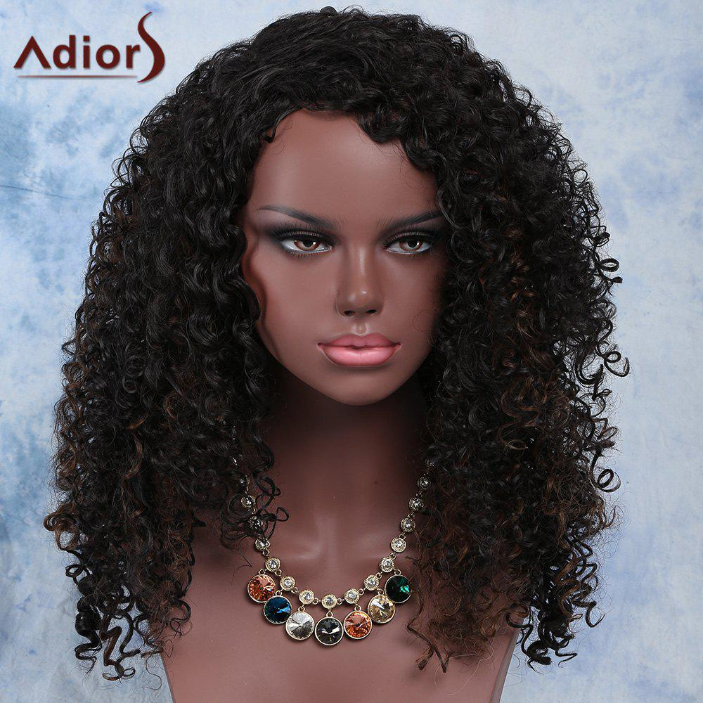 Fluffy Dark Brown Mixed Curly Fashion Long Synthetic Adiors Wig For Women