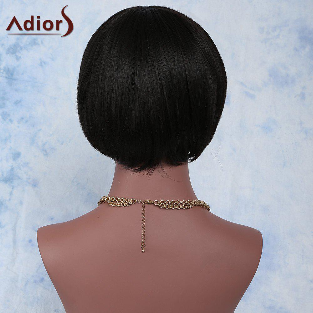 Attractive Short Synthetic Black Straight Full Bang Wig For Women - BLACK