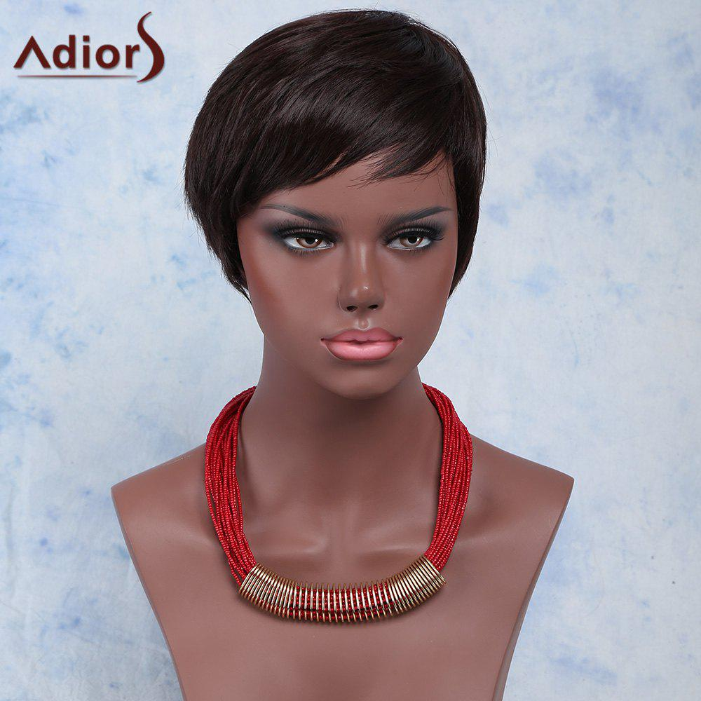 Faddish Black Brown Side Bang Synthetic Straight Short Adiors Wig For Women