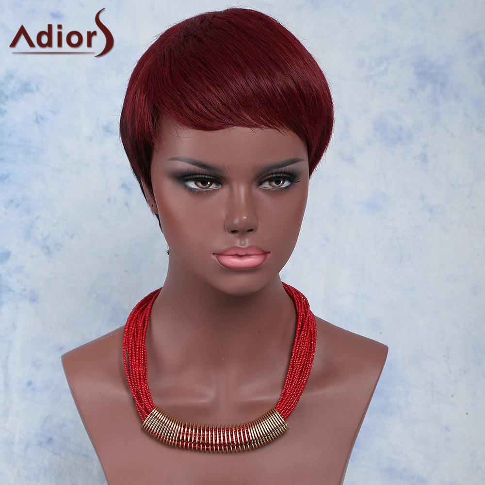 Outstanding Wine Red Straight Synthetic Ultrashort Layered Capless Adiors Wig For Women - WINE RED