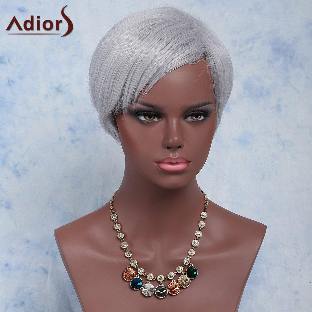 Attractive Straight Side Bang Capless Silvery Gray Short Synthetic Adiors Wig For Women цены