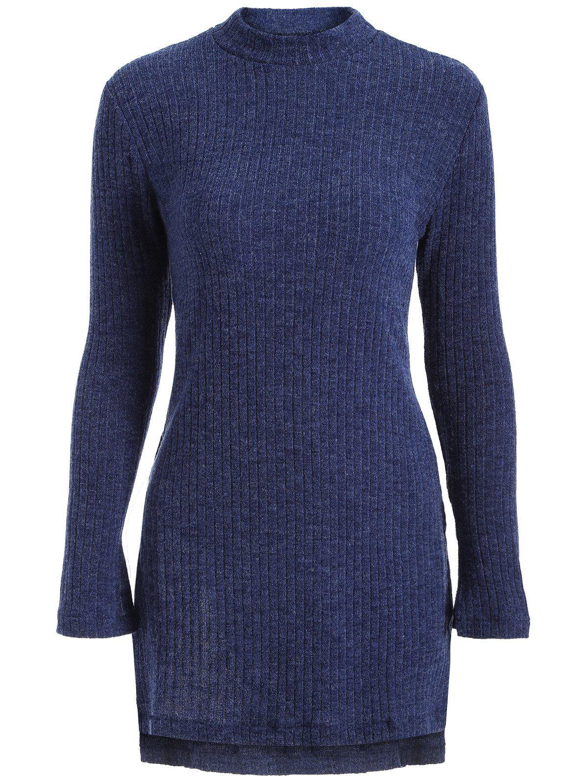High Neck Side Slit Tunic Sweater Deep Blue Xl In