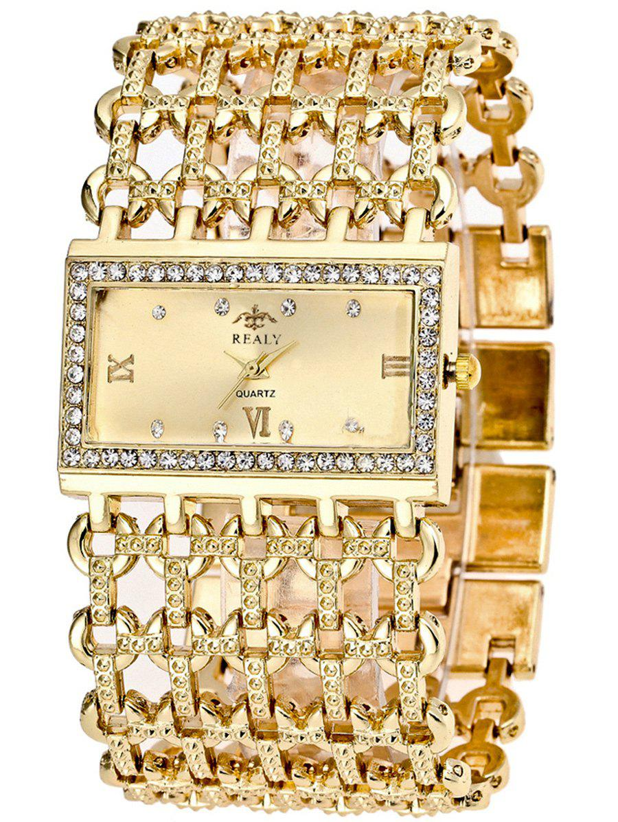 Roman Numerals Rhinestoned Geometric Bracelet Watch - GOLDEN