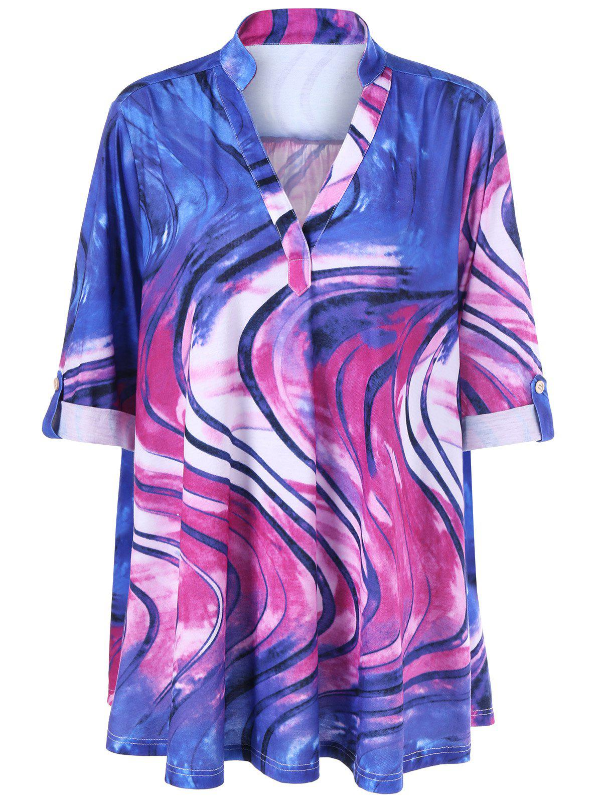 V Neck Tie Dye Plus Size Tee - COLORMIX 2XL