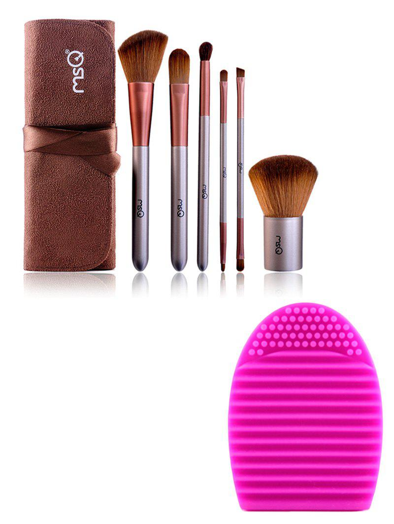 6 pcs Makeup Brushes Set with Brush Bag + Brush EggAccessories<br><br><br>Color: COFFEE