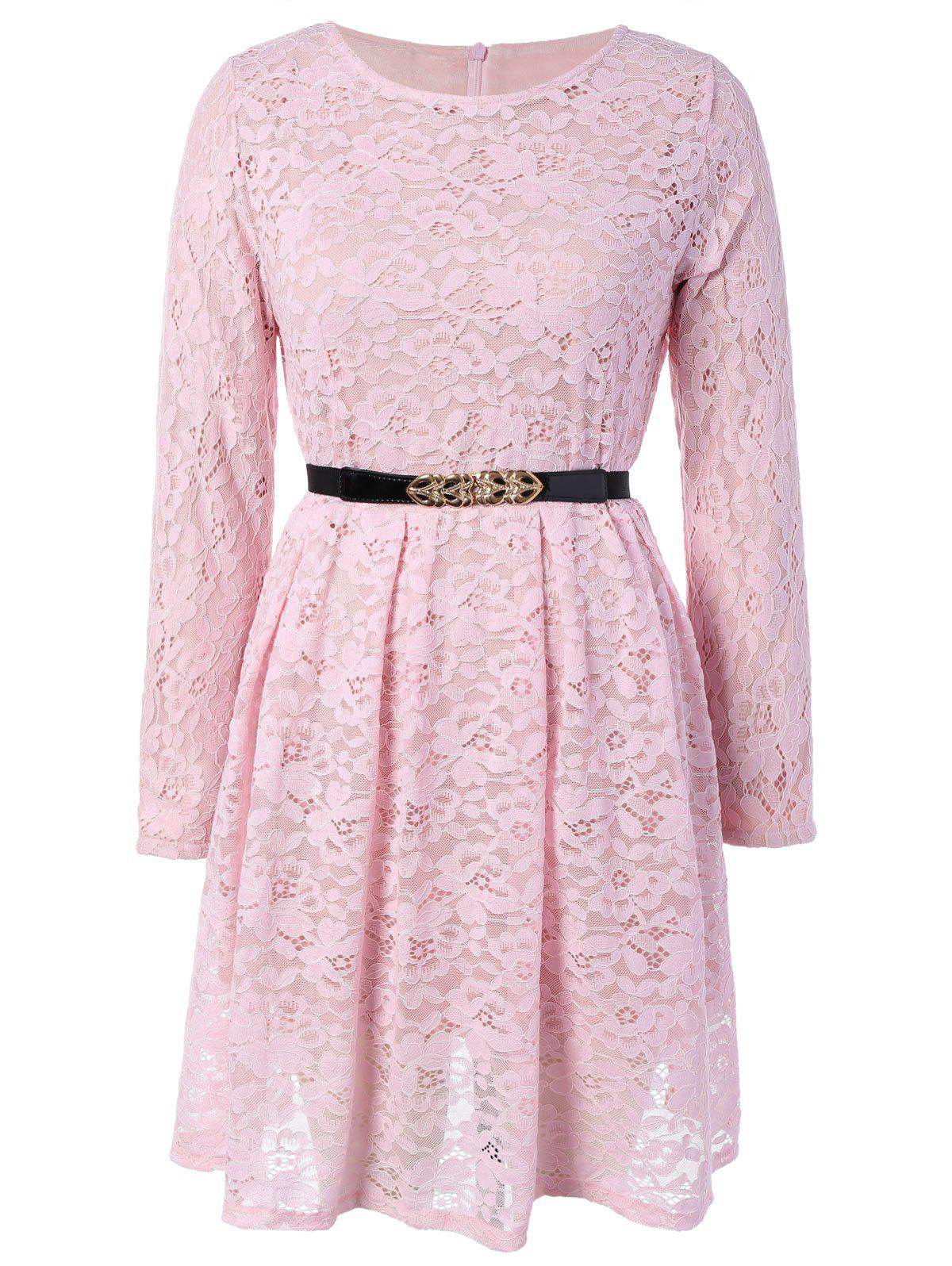 Fit and Flare Lace Long Sleeve Dress lace overlay fit and flare dress