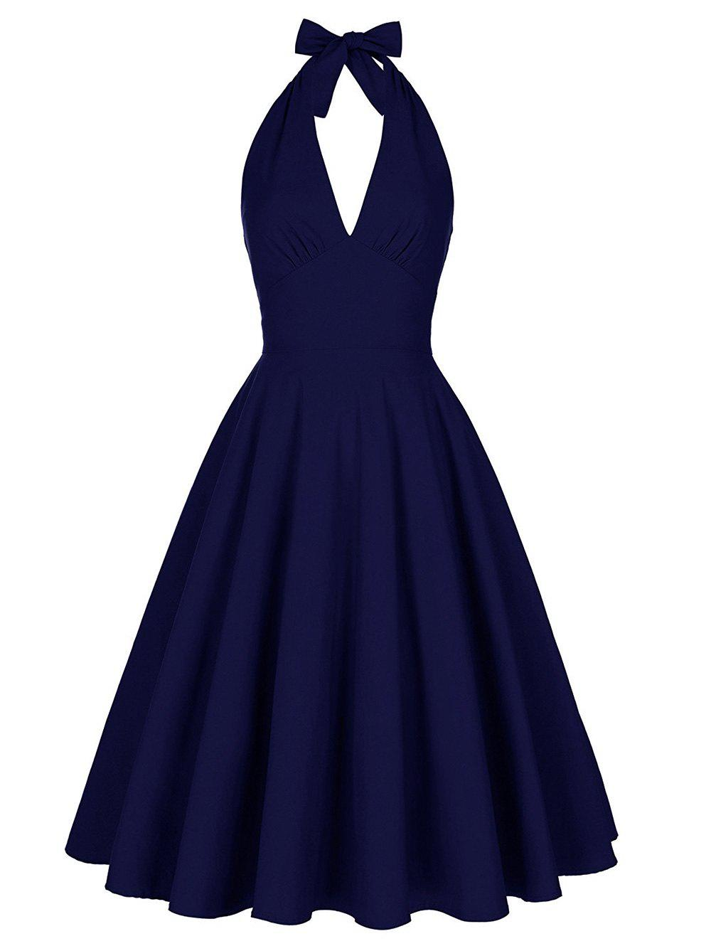 Backless Plunge Halter Vintage Skater Club Dress - PURPLISH BLUE L