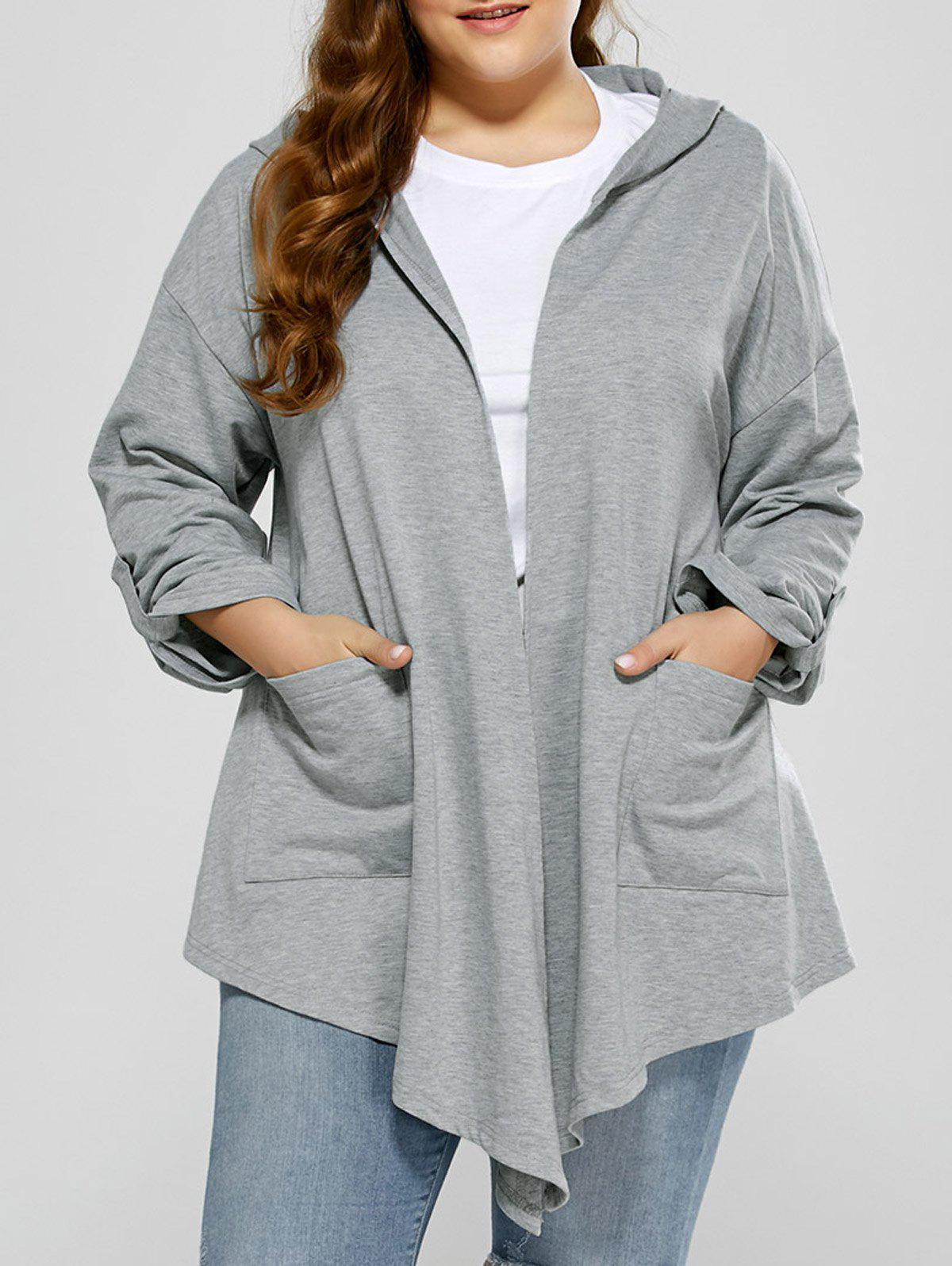 Buy Hooded Asymmetrical Plus Size Cardigan Pocket LIGHT GRAY