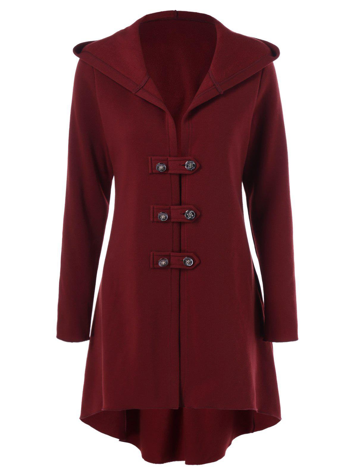 Lace-Up High Low Hem Coat - DEEP RED XL