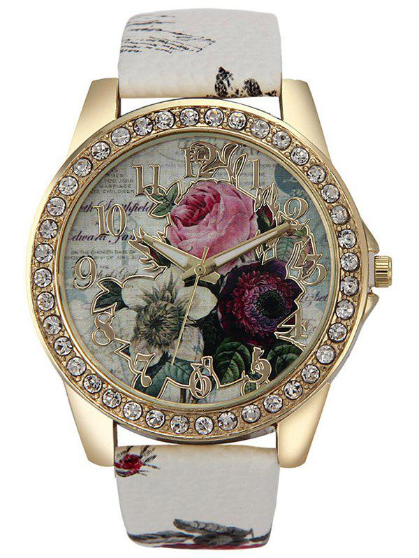 Faux Leather Rhinestone Rose Quartz Watch - WHITE