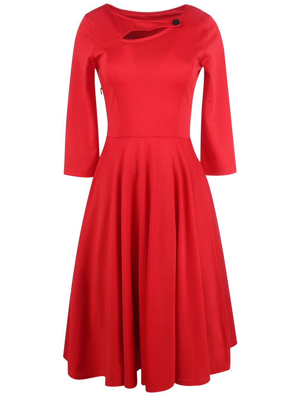 Long Sleeve Keyhole Full Dress - RED L