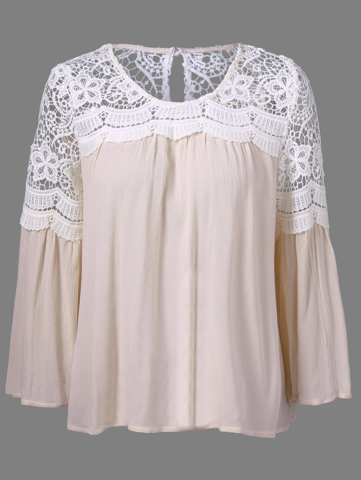 Bell Sleeve Lace Panel Flowy Blouse chelsea verde hippie chic boho flowy poncho blouse shirt