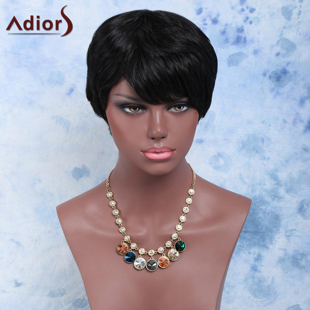 Short Capless Straight Endearing Synthetic Wig - BLACK