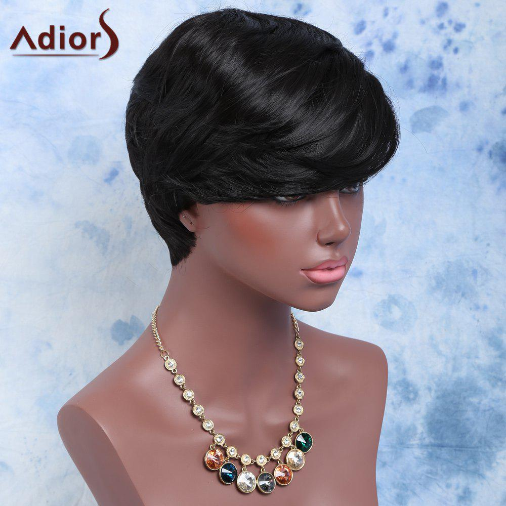 Short Slightly Curled Full Bang Synthetic Wig - BLACK