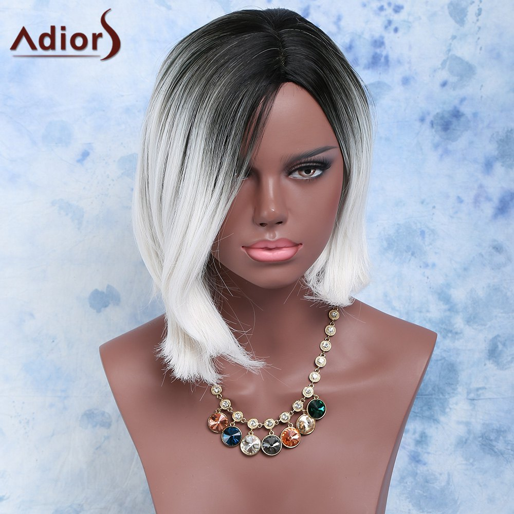 Women's Fashion Black Mixed White Side Parting Short Straight Synthetic Hair Wig - WHITE/BLACK