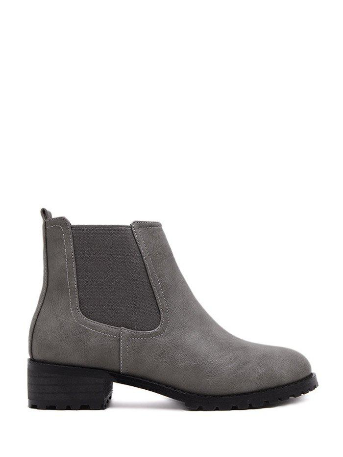 Elastic Band Round Toe Ankle Boots - GRAY 39
