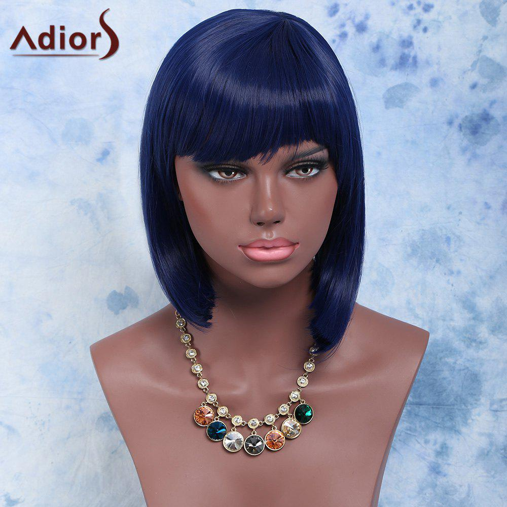 Medium Straight Women's Full Bang Purplish Blue Fashion Synthetic Hair Wig - PURPLISH BLUE