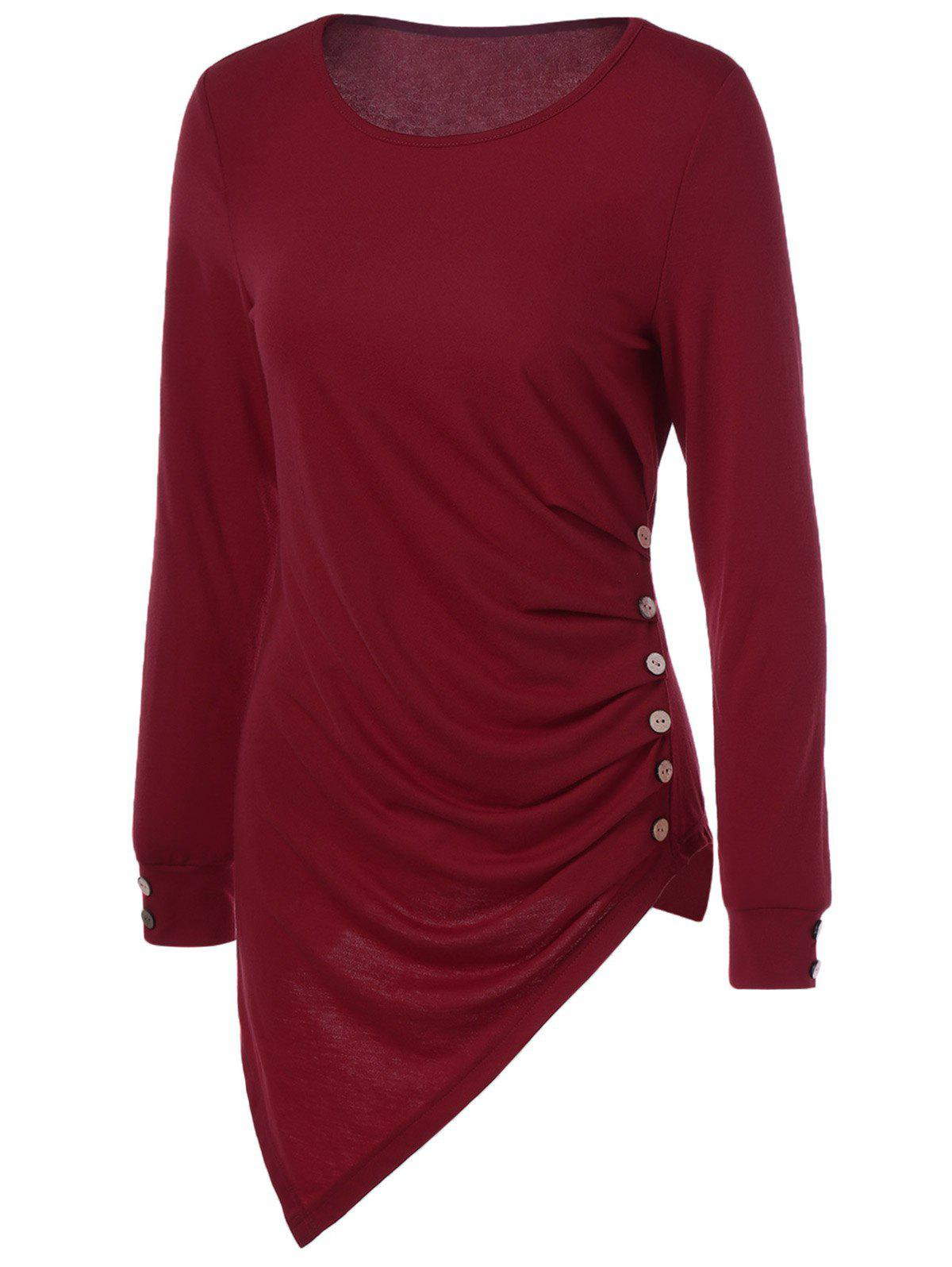 Asymmetrical Long Sleeve TeeWomen<br><br><br>Size: L<br>Color: WINE RED