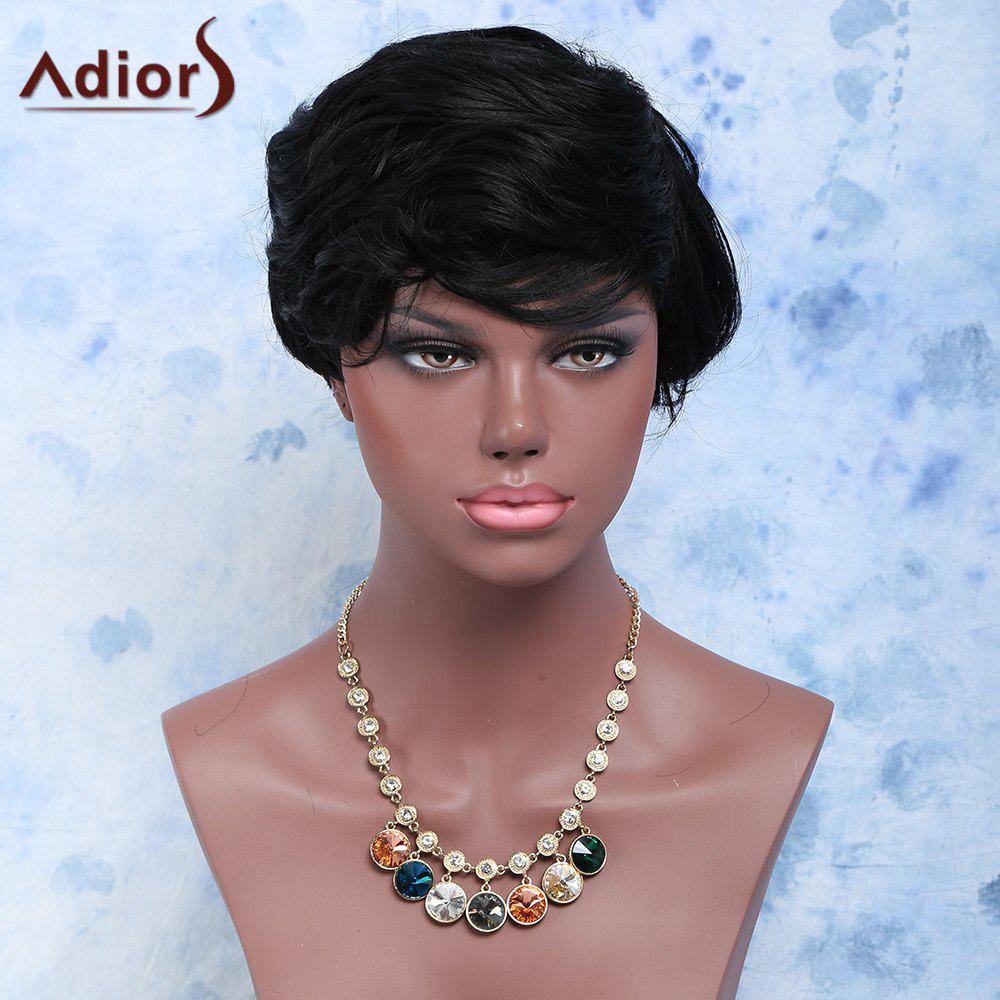 Pixie Cut Short Fluffy Curly Synthetic Wig - BLACK