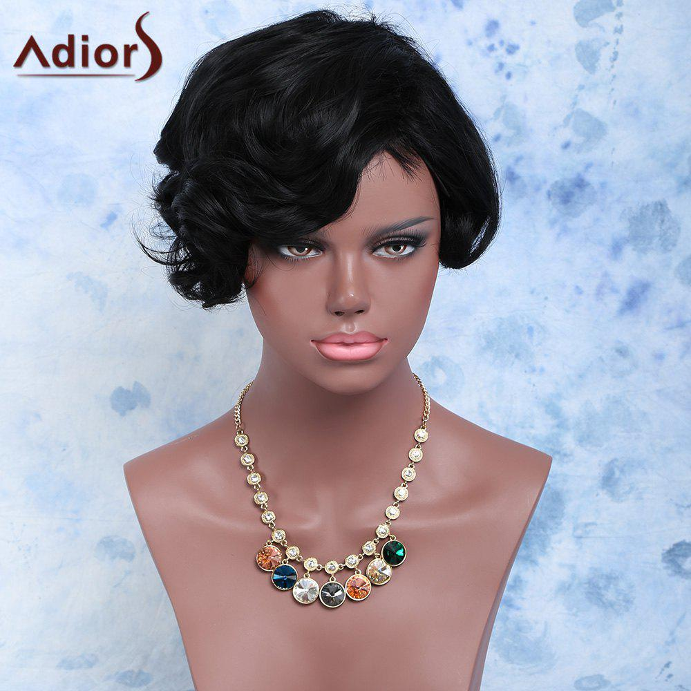 Fluffy Pixie Cut Short Side Bang Curly Synthetic Wig - BLACK