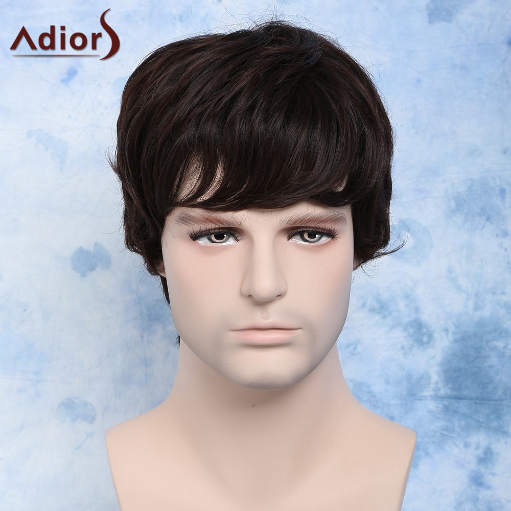 Buy Fluffy Wavy Dark Brown Synthetic Handsome Short Side Bang Capless Wig Men DEEP BROWN