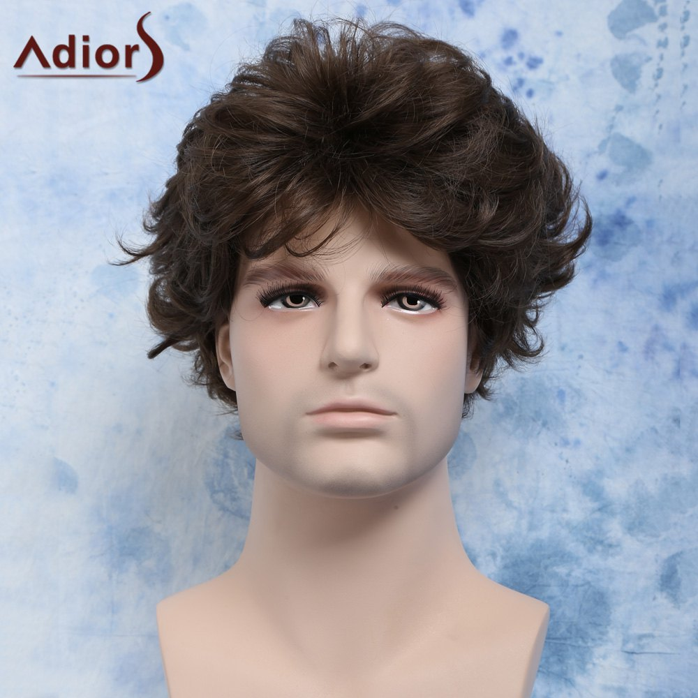 Manly Short Flax Brown Heat Resistant Fiber Bouffant Curly Capless Wig For Men - BROWN