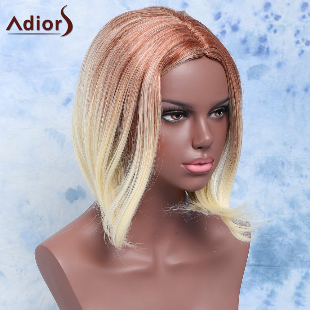Fashion Short Straight Mixed Color Centre Parting Synthetic Hair Wig For Women -  COLORMIX