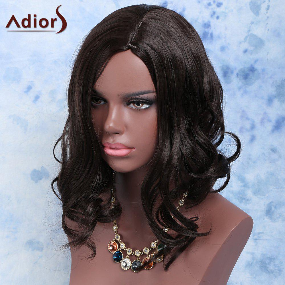 Exquisite Short Fluffy Wavy Black Side Parting Synthetic Hair Wig For Women