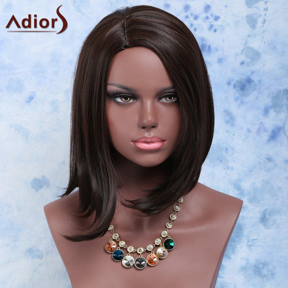 Fashion Short Straight Dark Brown Centre Parting Synthetic Hair Wig For Women - BLACK BROWN