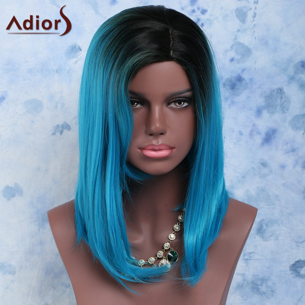 Women's Impressive Black Mixed Blue Side Bang Medium Straight Synthetic Hair Wig - COLORMIX