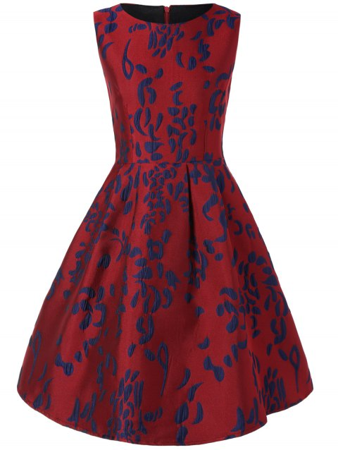 Sleeveless Jacquard Swing Dress - WINE RED S