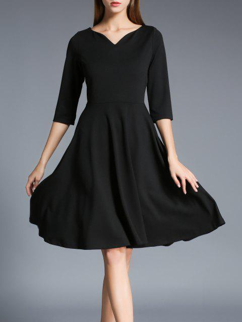 Half Sleeves Flare Dress - BLACK S