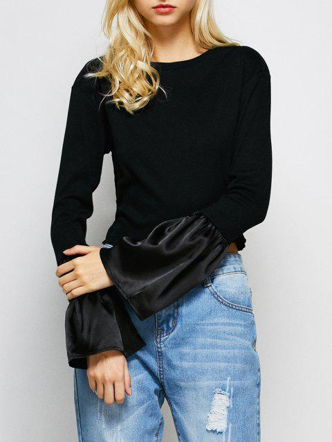 0aff2fb477f 17% OFF] 2019 Bell Sleeve Fitted Crop Top In BLACK | DressLily