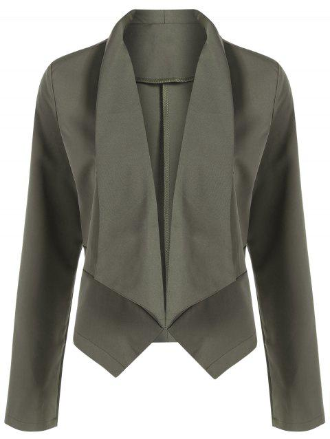 Open Front Shawl Collar Blazer - HAMPTON GREEN M