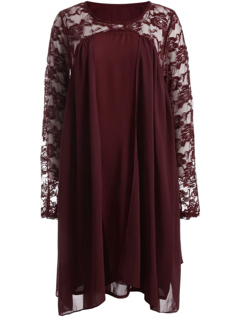 Plus Size Long Sleeve Lace Insert Shift Dress - RED L