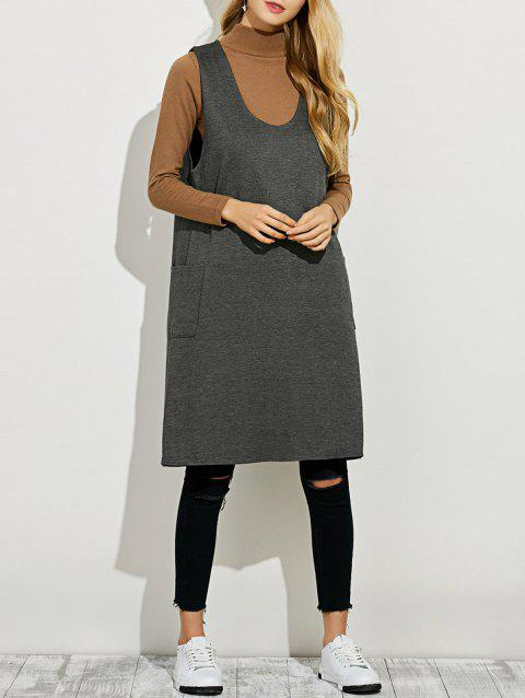 a0ef994eaaf361 2019 Sleeveless A Line Sweater Dress In GRAY XL