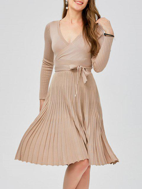 bb14ccc0b5c Plunging Neck Long Sleeve Jersey Low Cut Skater Sweater Dress - APRICOT ONE  SIZE